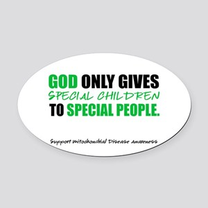 God Only Gives (Mito Awareness) Oval Car Magnet